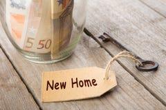 Concepto de las finanzas de las propiedades inmobiliarias - vidrio del dinero con nueva palabra casera foto de archivo