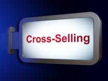 Concepto de las finanzas: Venta en 'cross-sell' en fondo de la cartelera Imágenes de archivo libres de regalías