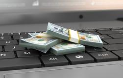 Concepto de las finanzas y de la ganancia, cientos billetes de banco del dólar en revestimiento Fotos de archivo libres de regalías