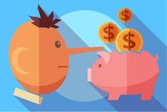 Concepto de las finanzas y del fraude Hombre del mentiroso y una hucha stock de ilustración