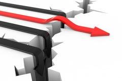 Concepto de las flechas del incidente y del éxito. Imagenes de archivo