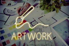 Concepto de las habilidades de Art Brush Painting Creativity Imagination Imagen de archivo