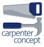 Concepto de las herramientas de la sierra y del martillo Fotos de archivo