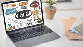 Concepto de las ideas de la innovación del diseño de la investigación de la estrategia de Vision Fotos de archivo