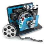 Concepto de las multimedias Attrib del ordenador portátil, de la cámara, del auricular y video stock de ilustración