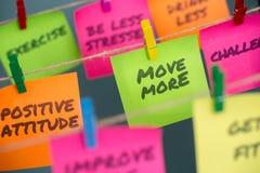 concepto de las notas para la motivación para el movimiento de permanecer sano o de perder más el peso foto de archivo libre de regalías