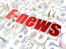 Concepto de las noticias: E-noticias en fondo del alfabeto Fotografía de archivo libre de regalías