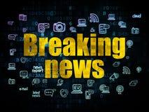 Concepto de las noticias: Noticias de última hora en el fondo de Digitaces Foto de archivo