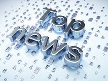 Concepto de las noticias: Noticias superiores de plata en fondo digital Foto de archivo