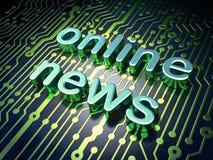 Concepto de las noticias: placa de circuito con noticias en línea de la palabra Fotos de archivo libres de regalías