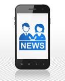 Concepto de las noticias: Smartphone con el presentador estrella en la exhibición Fotografía de archivo libre de regalías