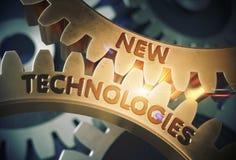 Concepto de las nuevas tecnologías Engranajes de oro del diente ilustración 3D Imagenes de archivo