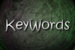 Concepto de las palabras claves imagen de archivo