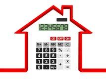 Concepto 6 de las propiedades inmobiliarias Casa abstracta con la calculadora Fotos de archivo