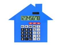 Concepto 6 de las propiedades inmobiliarias Casa abstracta con la calculadora Imagen de archivo libre de regalías