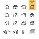 Concepto 6 de las propiedades inmobiliarias Contenga el icono Imágenes de archivo libres de regalías