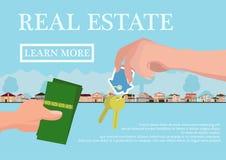Concepto de las propiedades inmobiliarias del vector en estilo plano - la mano de los businessmans que da llaves y el comprador d Fotos de archivo