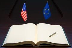 Concepto de las relaciones de los E.E.U.U. y de la UE (unión europea) Imagenes de archivo