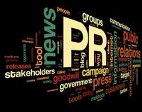 Concepto de las relaciones públicas en nube de la etiqueta Foto de archivo