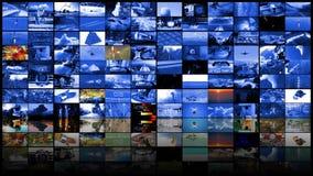 Concepto de las tecnologías de producción de la televisión como fondo video de la pared almacen de metraje de vídeo