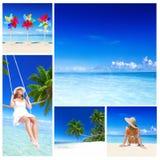Concepto de las vacaciones de la relajación de la playa del verano de la mujer foto de archivo libre de regalías