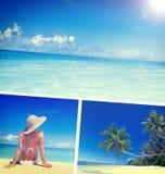 Concepto de las vacaciones de la relajación de la playa del verano de la mujer imágenes de archivo libres de regalías