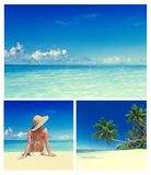 Concepto de las vacaciones de la relajación de la playa del verano de la mujer fotos de archivo
