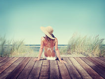 Concepto de las vacaciones de verano del bikini de la mujer que lleva imágenes de archivo libres de regalías