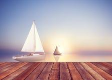 Concepto de las vacaciones del ocio de la libertad del viaje del verano de la vela del velero Imagen de archivo libre de regalías