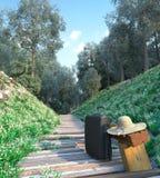 Concepto de las vacaciones del turismo del primer del bolso y del sombrero del viaje Imagen de archivo libre de regalías