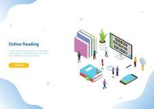 Concepto de lectura en línea isométrico 3d con los libros o los ebooks para la bandera u homepage del aterrizaje - vector de la p ilustración del vector