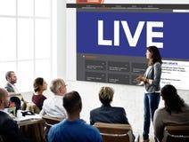 Concepto de Live Broadcast Media News Online foto de archivo