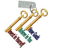 Concepto de 3 llaves para la forma de vida de la riqueza imágenes de archivo libres de regalías
