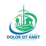 Concepto de Logo Template Environment Deje la reserva del ` s el mundo junto Fotografía de archivo