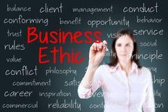 Concepto de los éticas de negocio de la escritura de la mujer de negocios Fondo para una tarjeta de la invitación o una enhorabue Imagenes de archivo