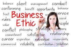 Concepto de los éticas de negocio de la escritura de la mujer de negocios ISO imágenes de archivo libres de regalías