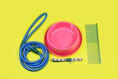 Concepto de los accesorios del animal doméstico: Correo, cuenco, cuellos y peine para el perro Imagen de archivo