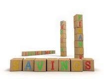 Concepto de los ahorros - bloques huecos del juego de niño Foto de archivo libre de regalías