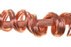 Concepto de los alambres de cobre de industria de potencia de la energía Foto de archivo libre de regalías