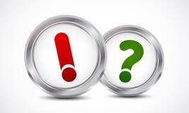 Concepto de los botones de la marca de la pregunta y de la respuesta Fotos de archivo libres de regalías