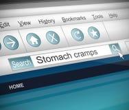Concepto de los calambres de estómago Imagen de archivo