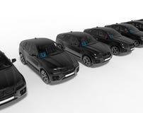 Concepto de los coches de UberBLACK en fila ilustración del vector