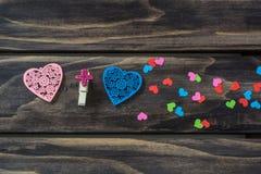 Concepto de los corazones de las tarjetas del día de San Valentín Fotografía de archivo