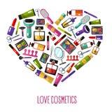 Concepto de los cosméticos del amor Fotografía de archivo libre de regalías