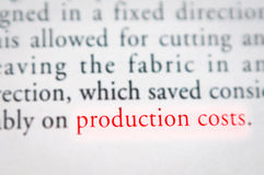 Concepto de los costes de producción imagen de archivo libre de regalías