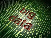 Concepto de los datos: Datos grandes sobre fondo de la placa de circuito Imagenes de archivo