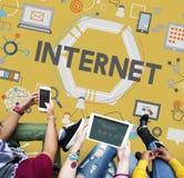 Concepto de los datos de conexión de la comunicación global de Internet foto de archivo