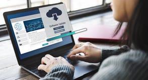 Concepto de los datos de la mejora de la instalación de la actualización de software fotos de archivo libres de regalías