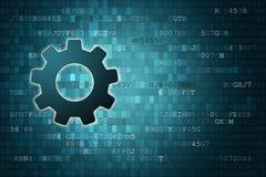 Concepto de los datos: Engranaje en fondo digital azul con el copyspace libre illustration