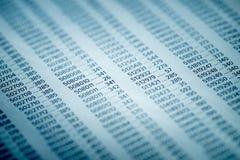 Concepto de los datos financieros con números Foto de archivo
